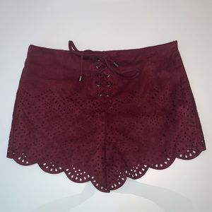 Forever21 burgundy suede scallop shorts